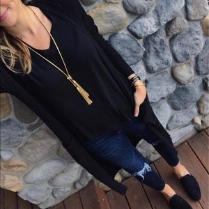 BP. Black Ribbed Duster